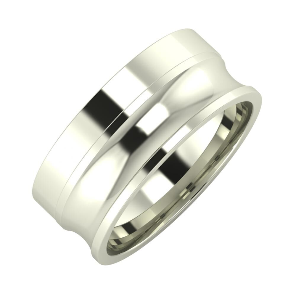 Adela - Alexandrina 8mm 14 karátos fehér arany karikagyűrű