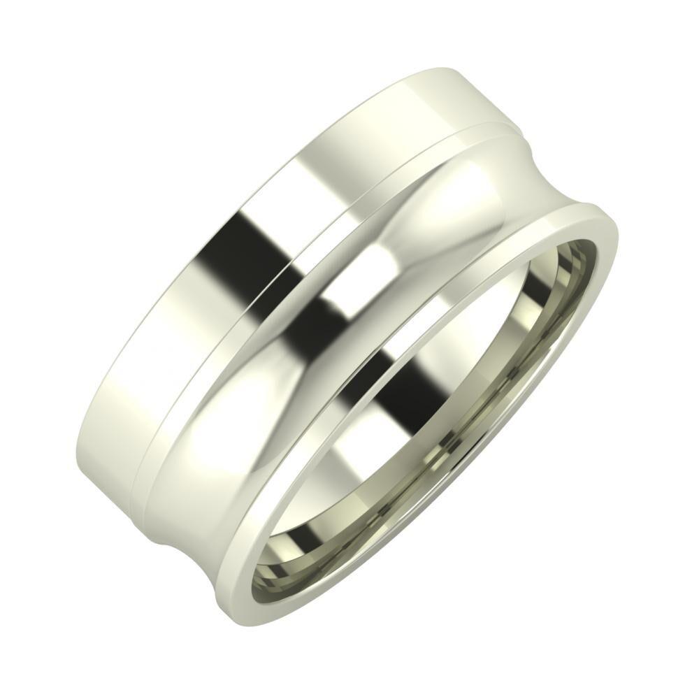 Adela - Alexandrina 8mm 18 karátos fehér arany karikagyűrű