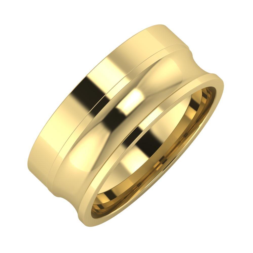 Adela - Alexandrina 8mm 14 karátos sárga arany karikagyűrű