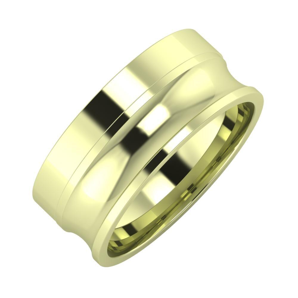 Adela - Alexandrina 8mm 14 karátos zöld arany karikagyűrű
