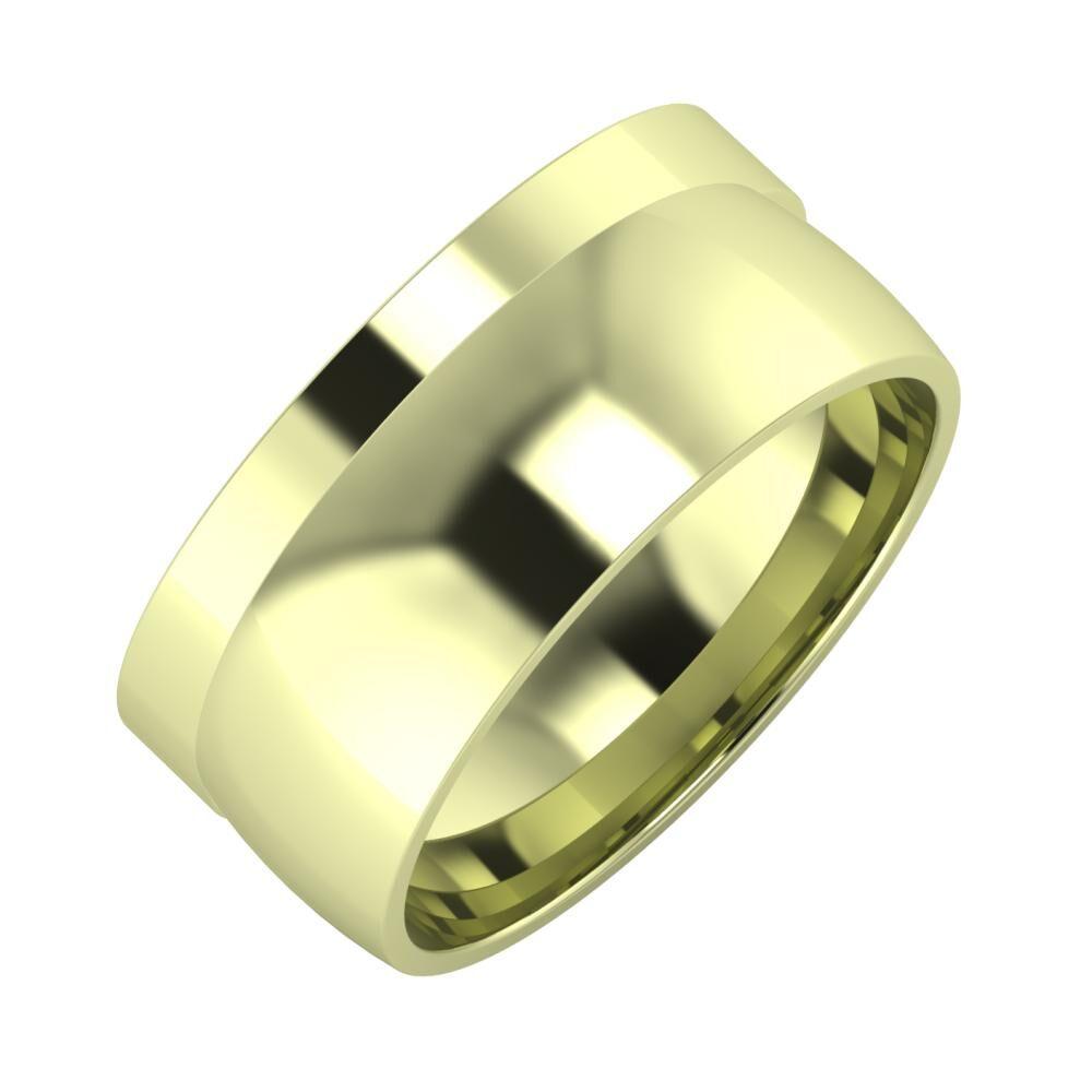 Adela - Alma 9mm 14 karátos zöld arany karikagyűrű