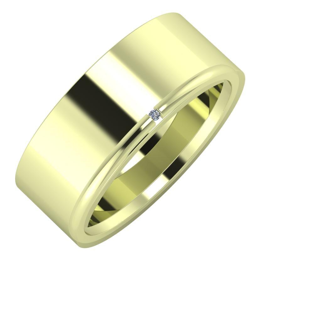Adela - Adalind 8mm 14 karátos zöld arany karikagyűrű