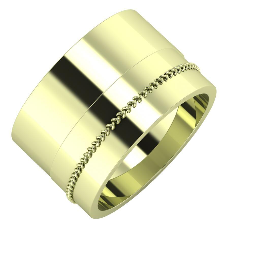Adela - Áfonya 13mm 14 karátos zöld arany karikagyűrű