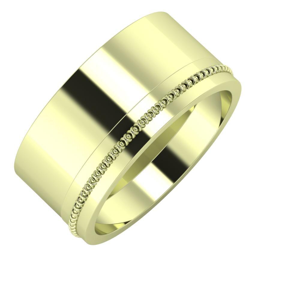 Adela - Afrodita 10mm 14 karátos zöld arany karikagyűrű