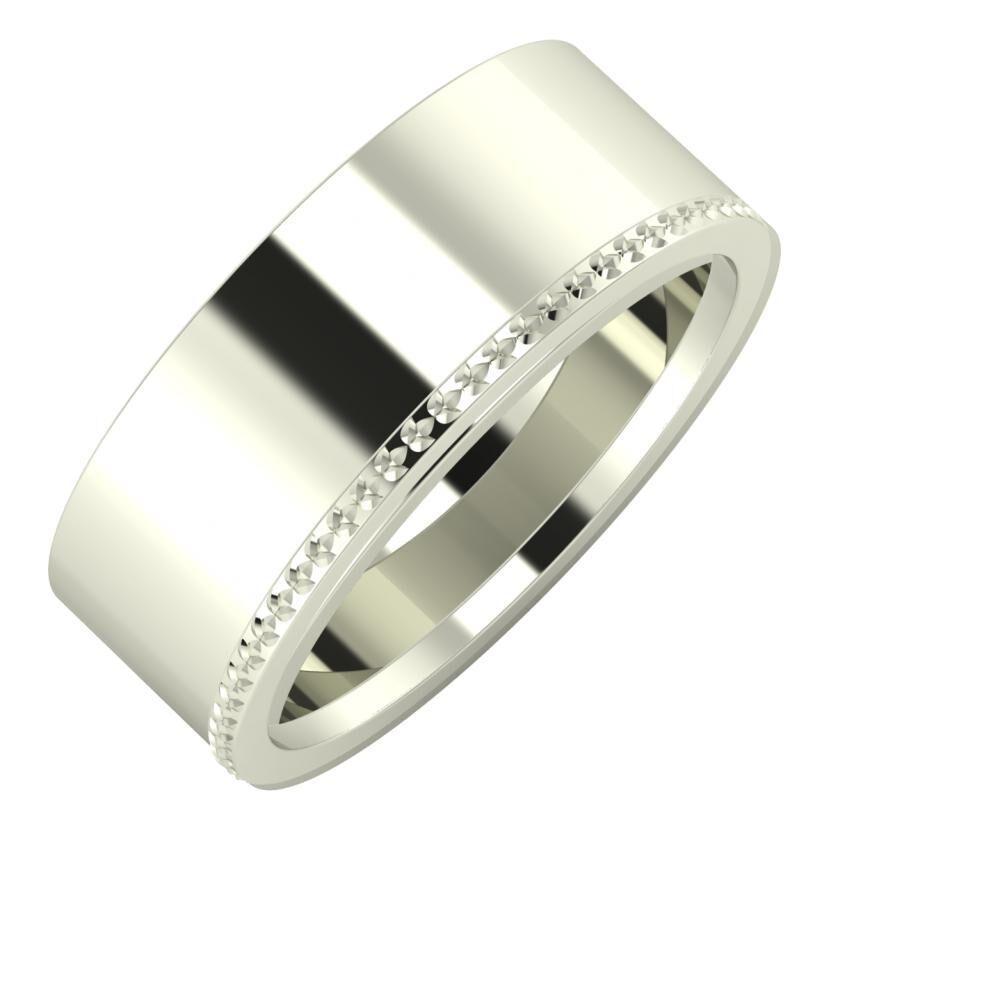 Adela - Ági 8mm 14 karátos fehér arany karikagyűrű