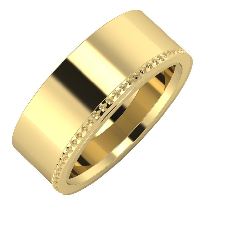 Adela - Ági 8mm 14 karátos sárga arany karikagyűrű