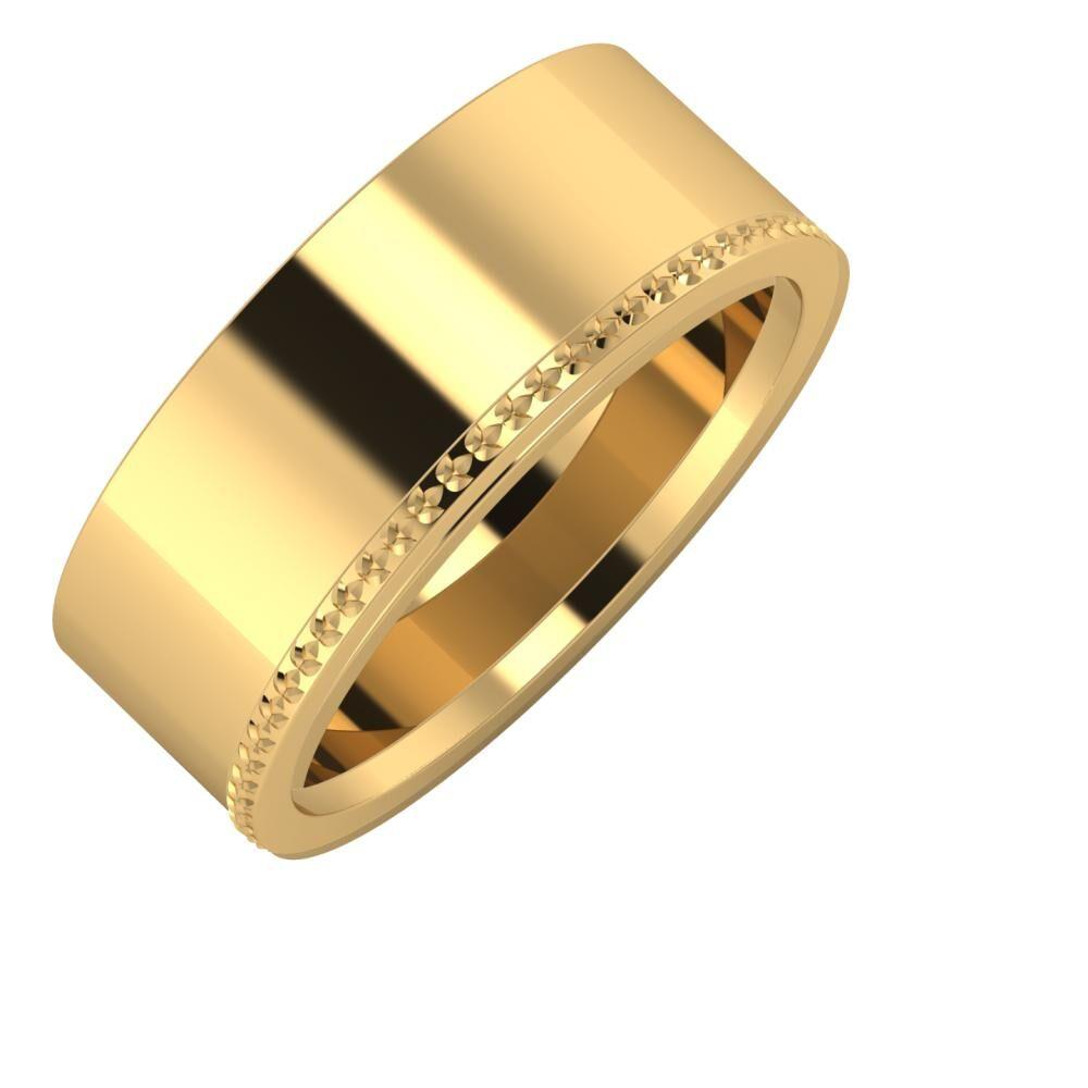 Adela - Ági 8mm 18 karátos sárga arany karikagyűrű