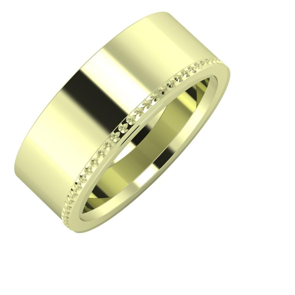 Adela - Ági 8mm 14 karátos zöld arany karikagyűrű