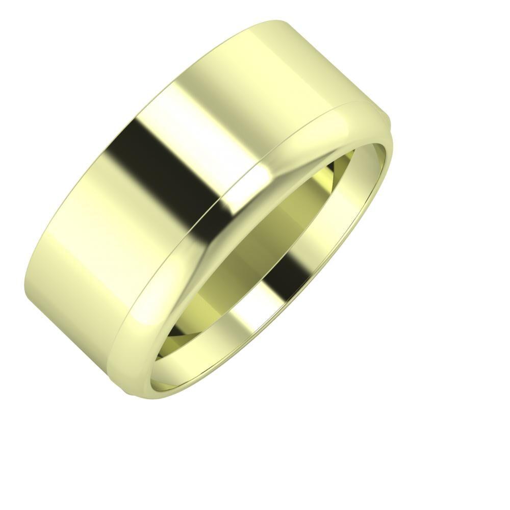 Adela - Ágosta 9mm 14 karátos zöld arany karikagyűrű