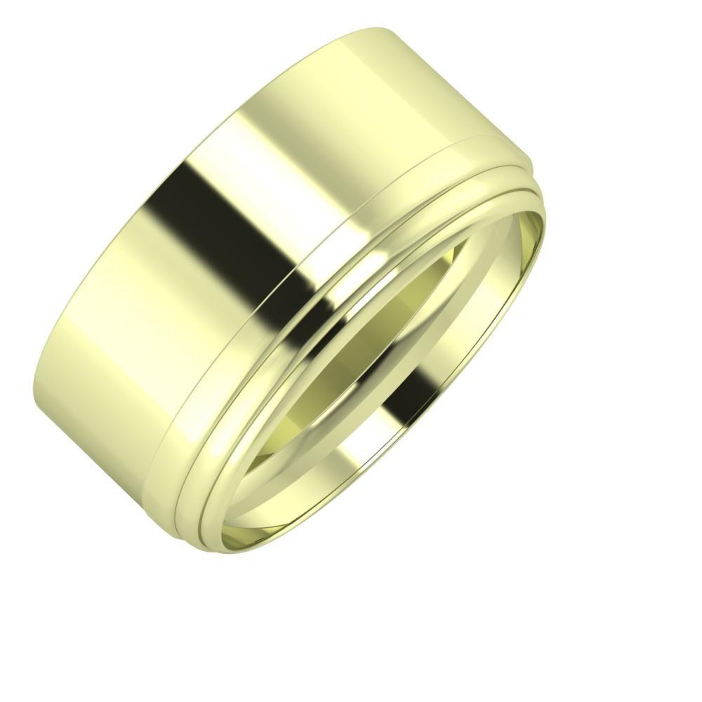 Adela - Aina 10mm 14 karátos zöld arany karikagyűrű