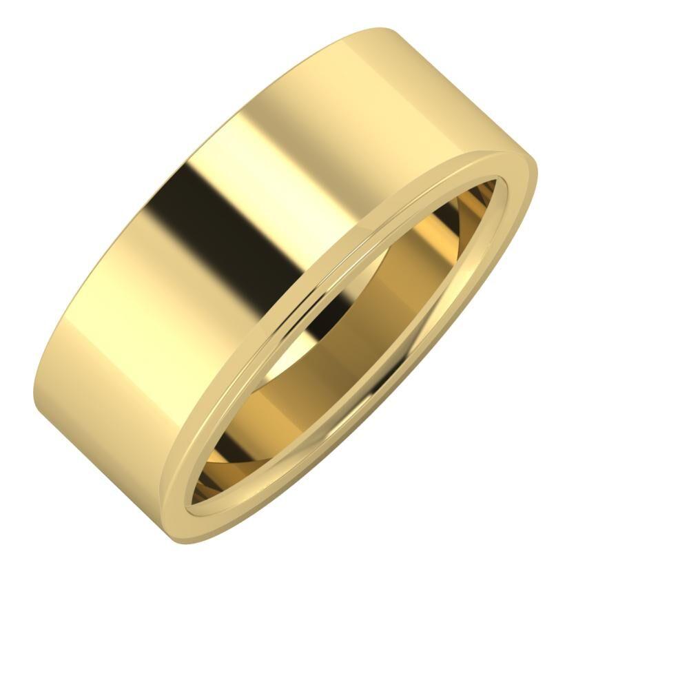 Adela - Aisa 8mm 14 karátos sárga arany karikagyűrű