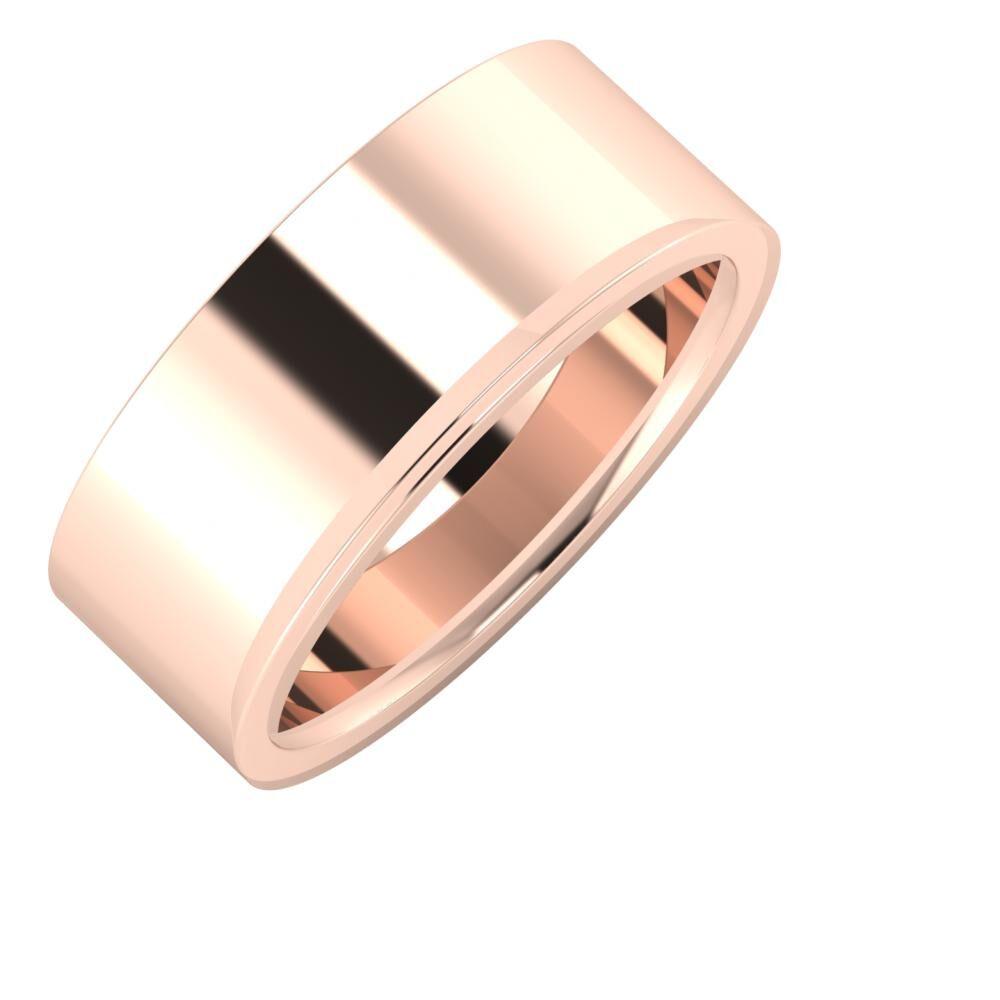 Adela - Aisa 8mm 14 karátos rosé arany karikagyűrű