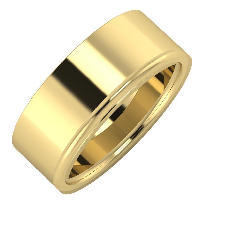 Adela - Aletta 8mm 14 karátos sárga arany karikagyűrű