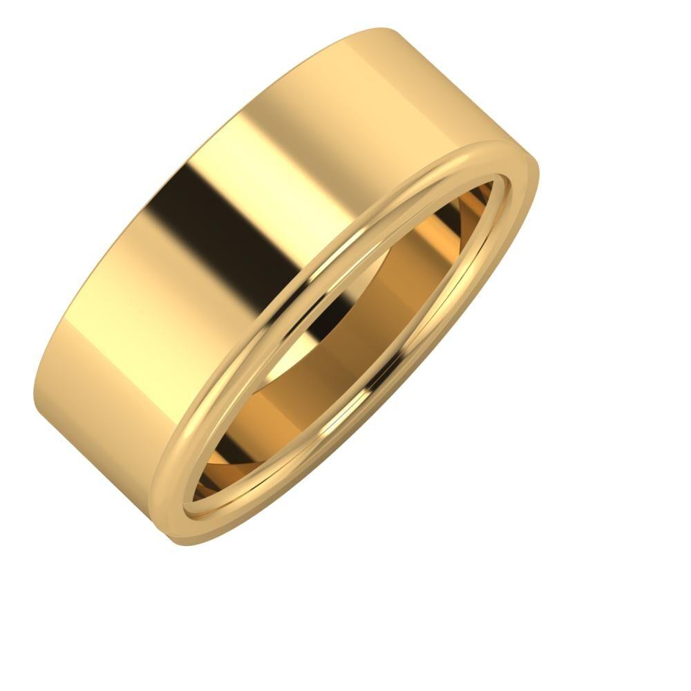 Adela - Aletta 8mm 18 karátos sárga arany karikagyűrű
