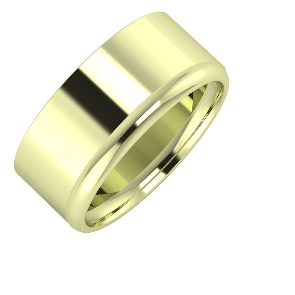 Adela - Alexa 9mm 14 karátos zöld arany karikagyűrű