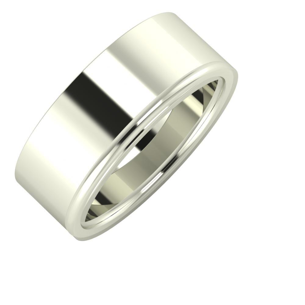 Adela - Alexandra 8mm 14 karátos fehér arany karikagyűrű