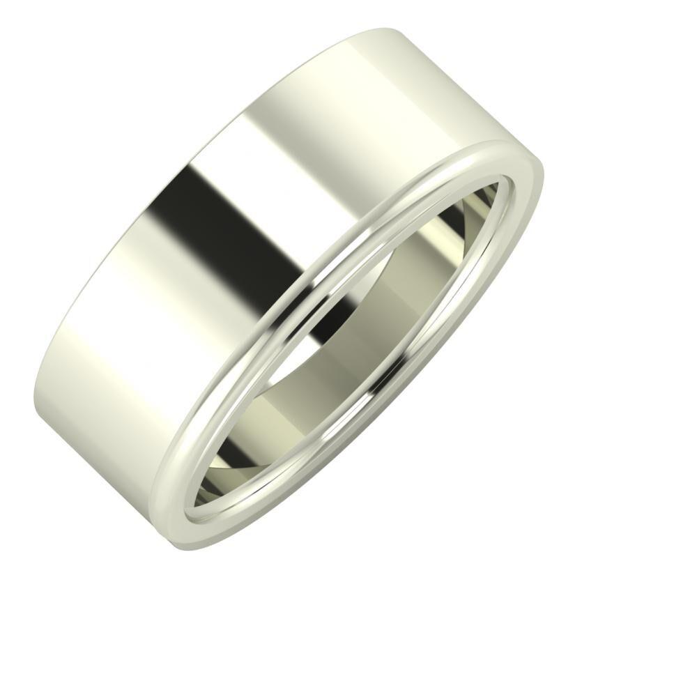 Adela - Alexandra 8mm 18 karátos fehér arany karikagyűrű