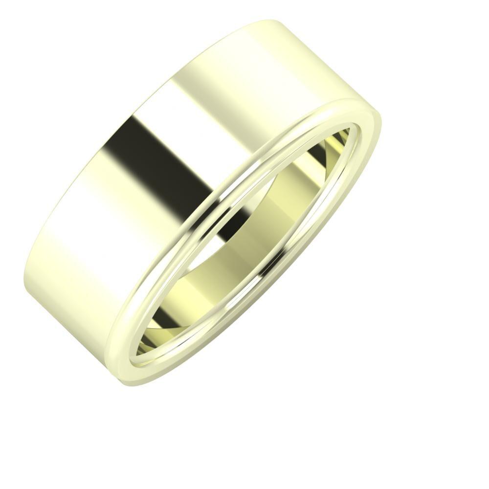 Adela - Alexandra 8mm 22 karátos fehér arany karikagyűrű