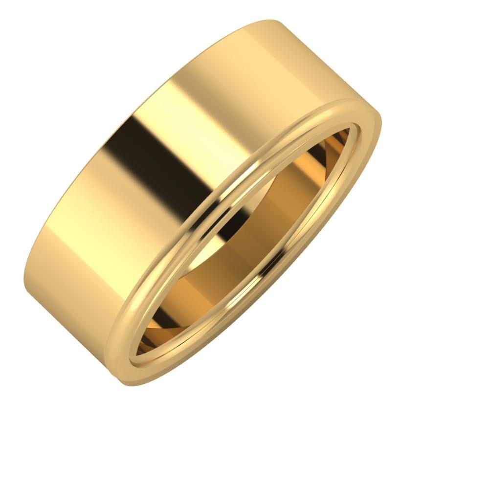 Adela - Alexandra 8mm 18 karátos sárga arany karikagyűrű