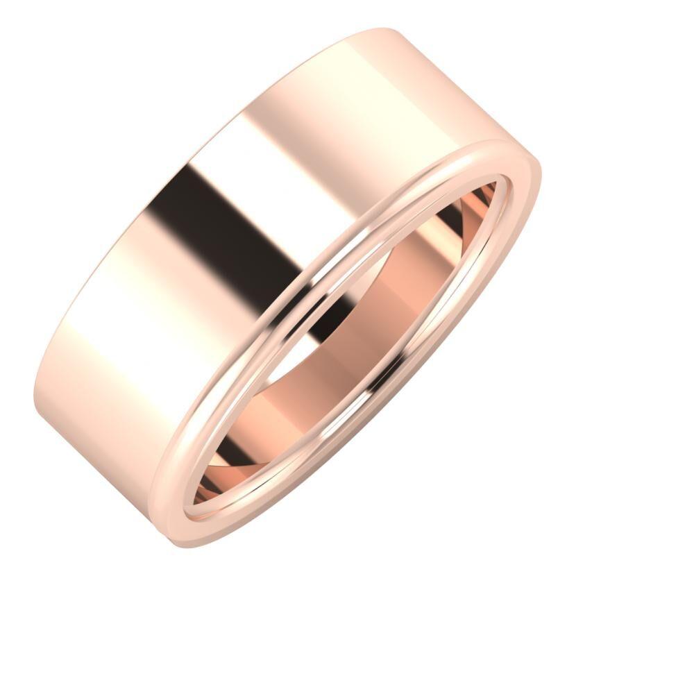 Adela - Alexandra 8mm 18 karátos rosé arany karikagyűrű