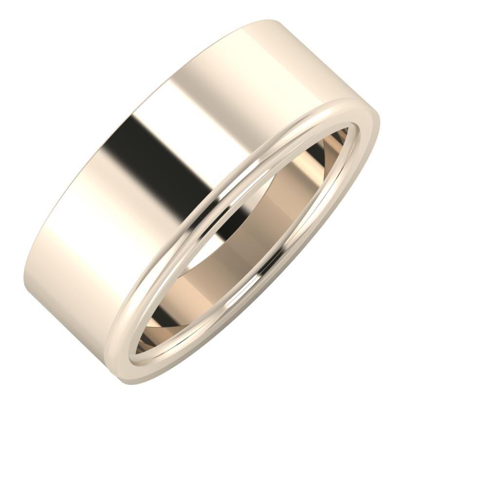 Adela - Alexandra 8mm 22 karátos rosé arany karikagyűrű