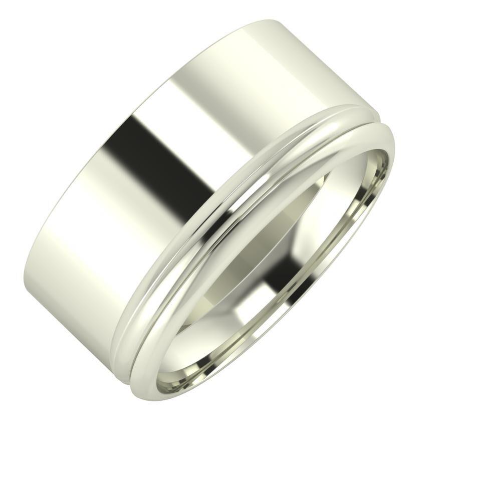 Adela - Alexandrin 10mm 14 karátos fehér arany karikagyűrű