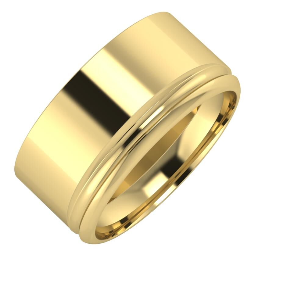 Adela - Alexandrin 10mm 14 karátos sárga arany karikagyűrű