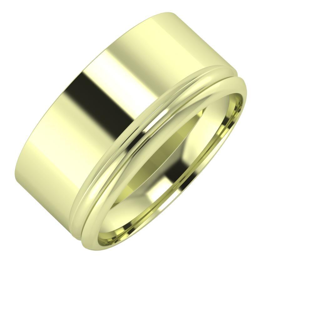 Adela - Alexandrin 10mm 14 karátos zöld arany karikagyűrű
