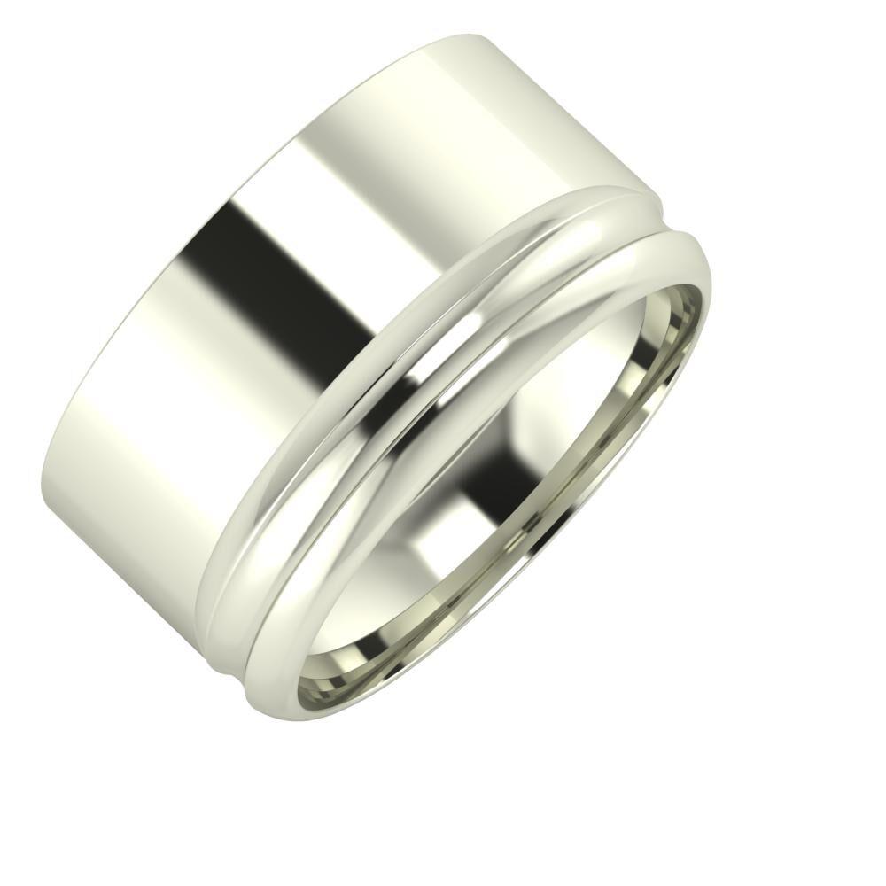 Adela - Alexandrin 11mm 14 karátos fehér arany karikagyűrű