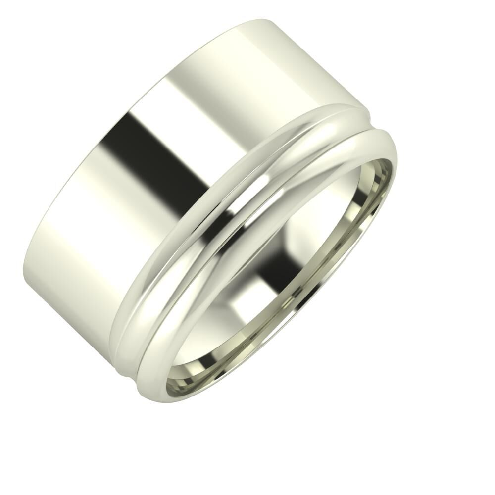 Adela - Alexandrin 11mm 18 karátos fehér arany karikagyűrű