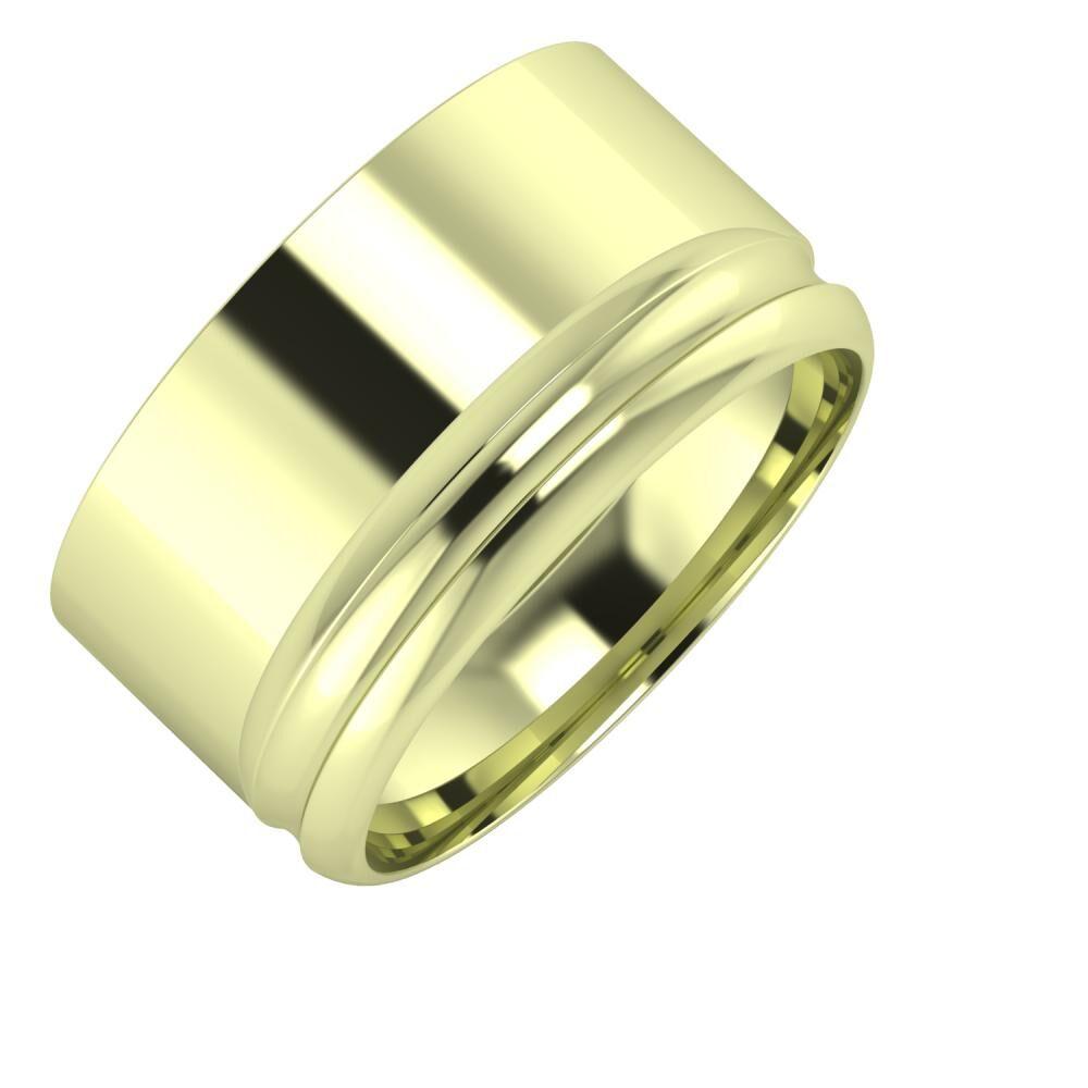 Adela - Alexandrin 11mm 14 karátos zöld arany karikagyűrű