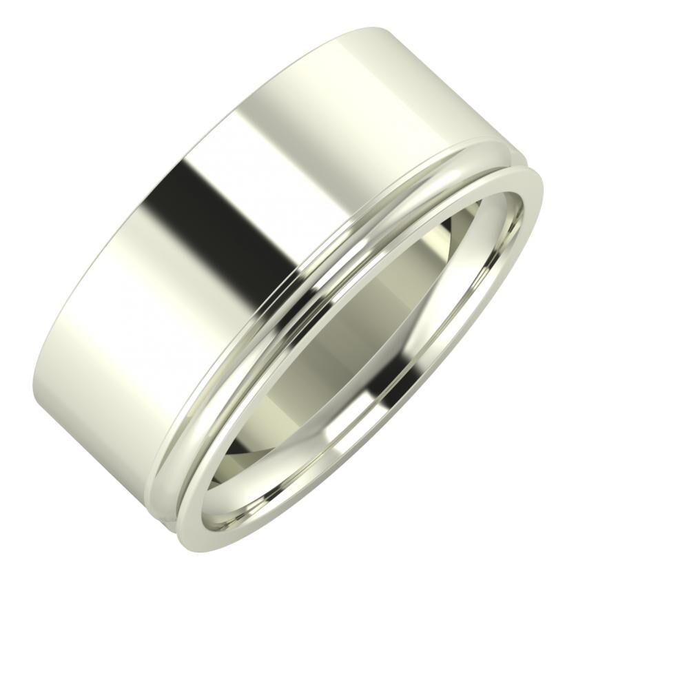 Adela - Alexandrina 9mm 14 karátos fehér arany karikagyűrű