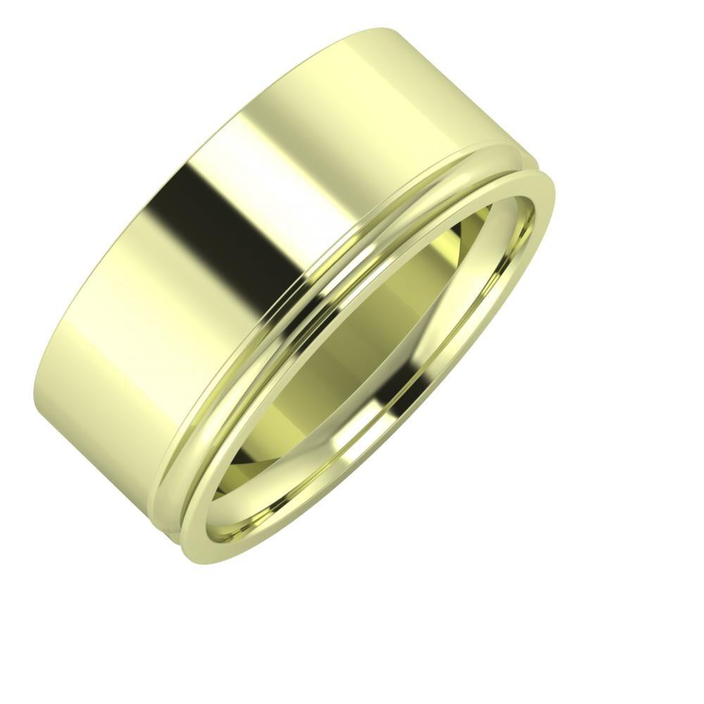 Adela - Alexandrina 9mm 14 karátos zöld arany karikagyűrű