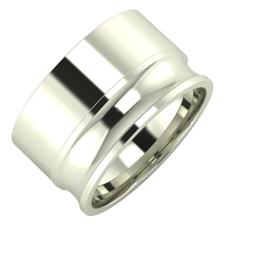 Adela - Alexandrina 12mm 18 karátos fehér arany karikagyűrű
