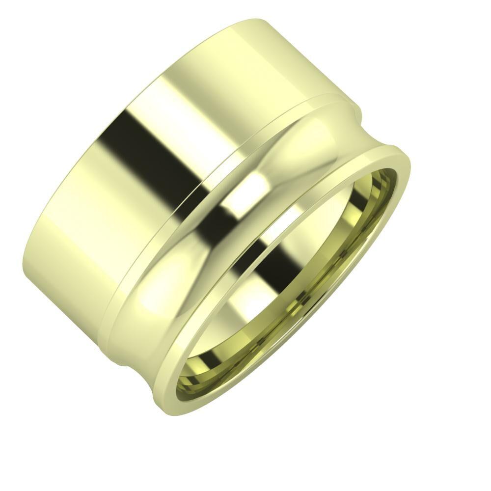 Adela - Alexandrina 12mm 14 karátos zöld arany karikagyűrű