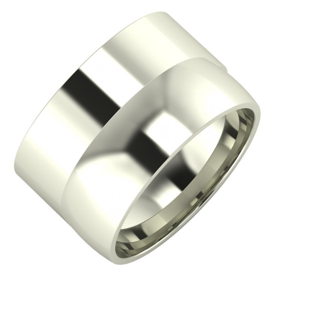 Adela - Alma 13mm 14 karátos fehér arany karikagyűrű