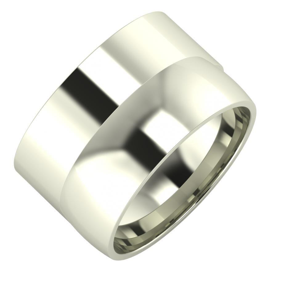 Adela - Alma 13mm 18 karátos fehér arany karikagyűrű