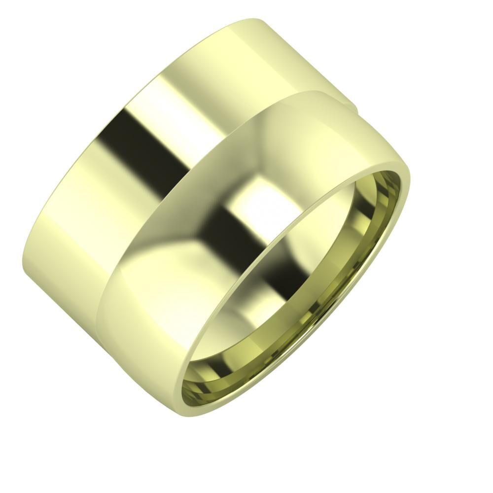 Adela - Alma 13mm 14 karátos zöld arany karikagyűrű