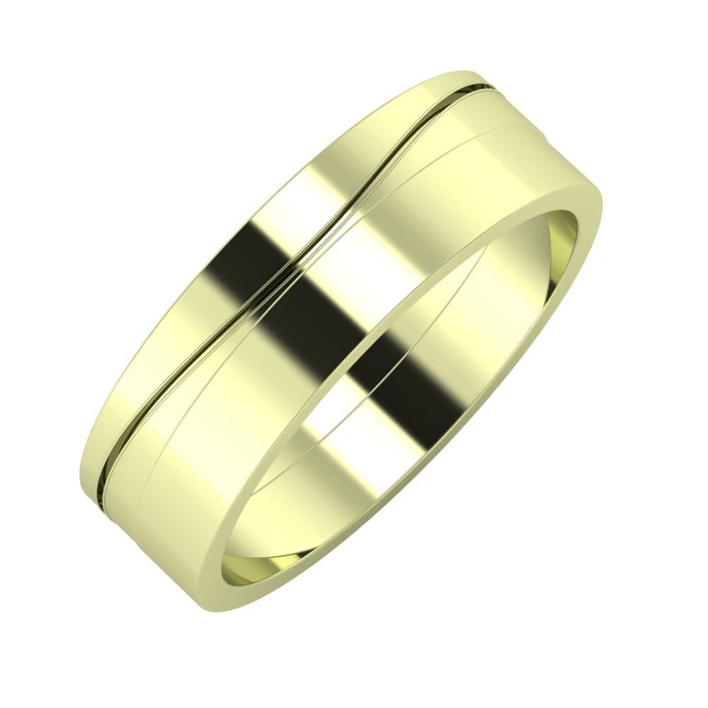 Adelinda - Adela 6mm 14 karátos zöld arany karikagyűrű