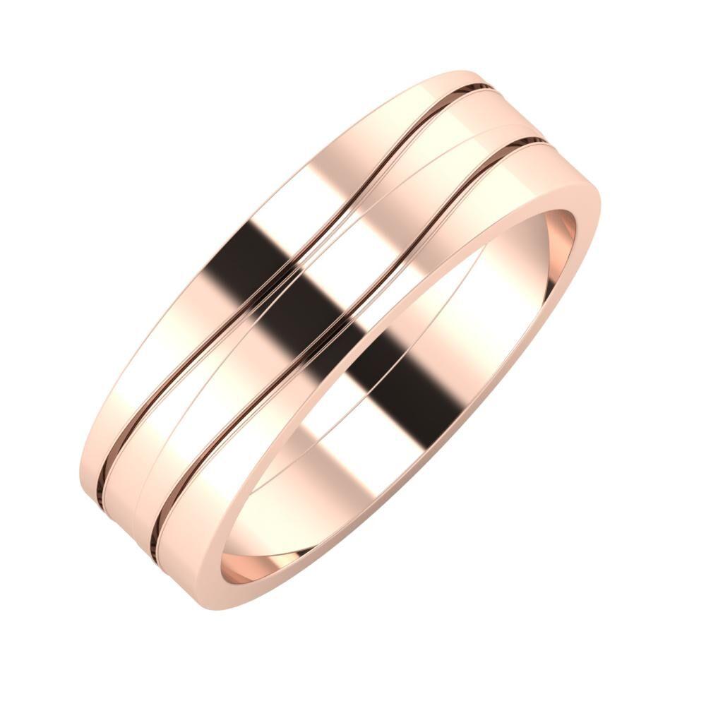 Adelinda - Adelinda 6mm 14 karátos rosé arany karikagyűrű