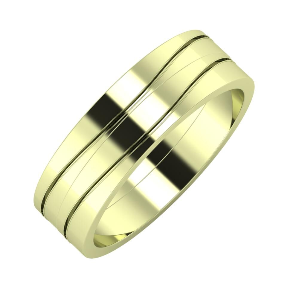 Adelinda - Adelinda 6mm 14 karátos zöld arany karikagyűrű