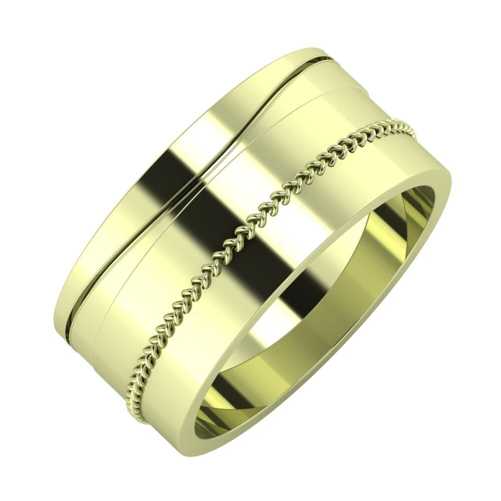 Adelinda - Áfonya 9mm 14 karátos zöld arany karikagyűrű