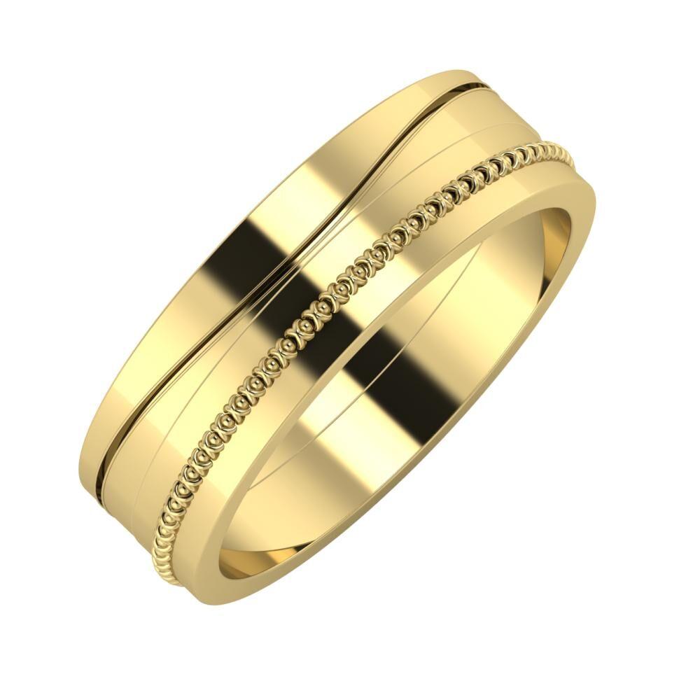 Adelinda - Afrodita 6mm 14 karátos sárga arany karikagyűrű