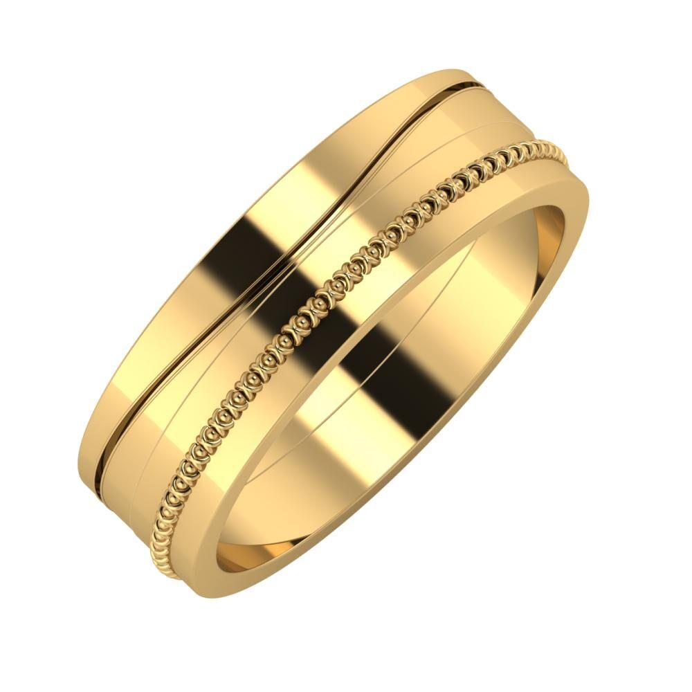 Adelinda - Afrodita 6mm 22 karátos sárga arany karikagyűrű