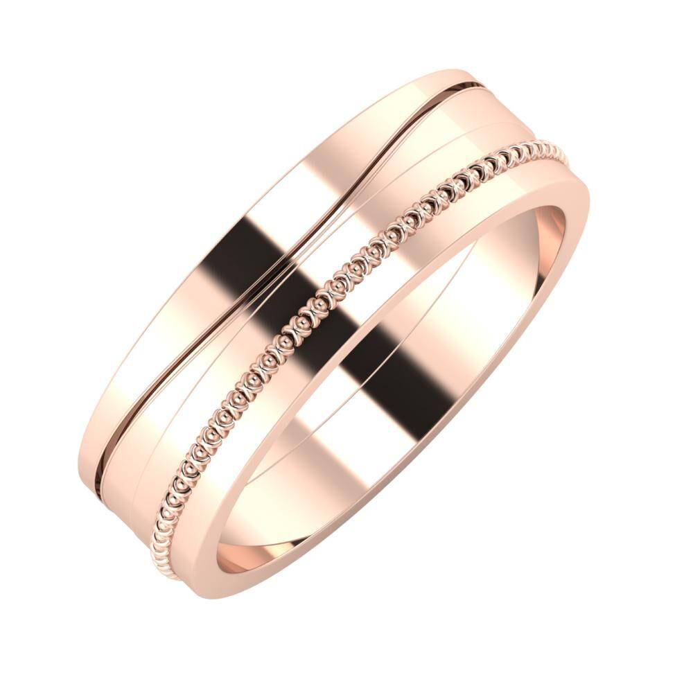 Adelinda - Afrodita 6mm 14 karátos rosé arany karikagyűrű