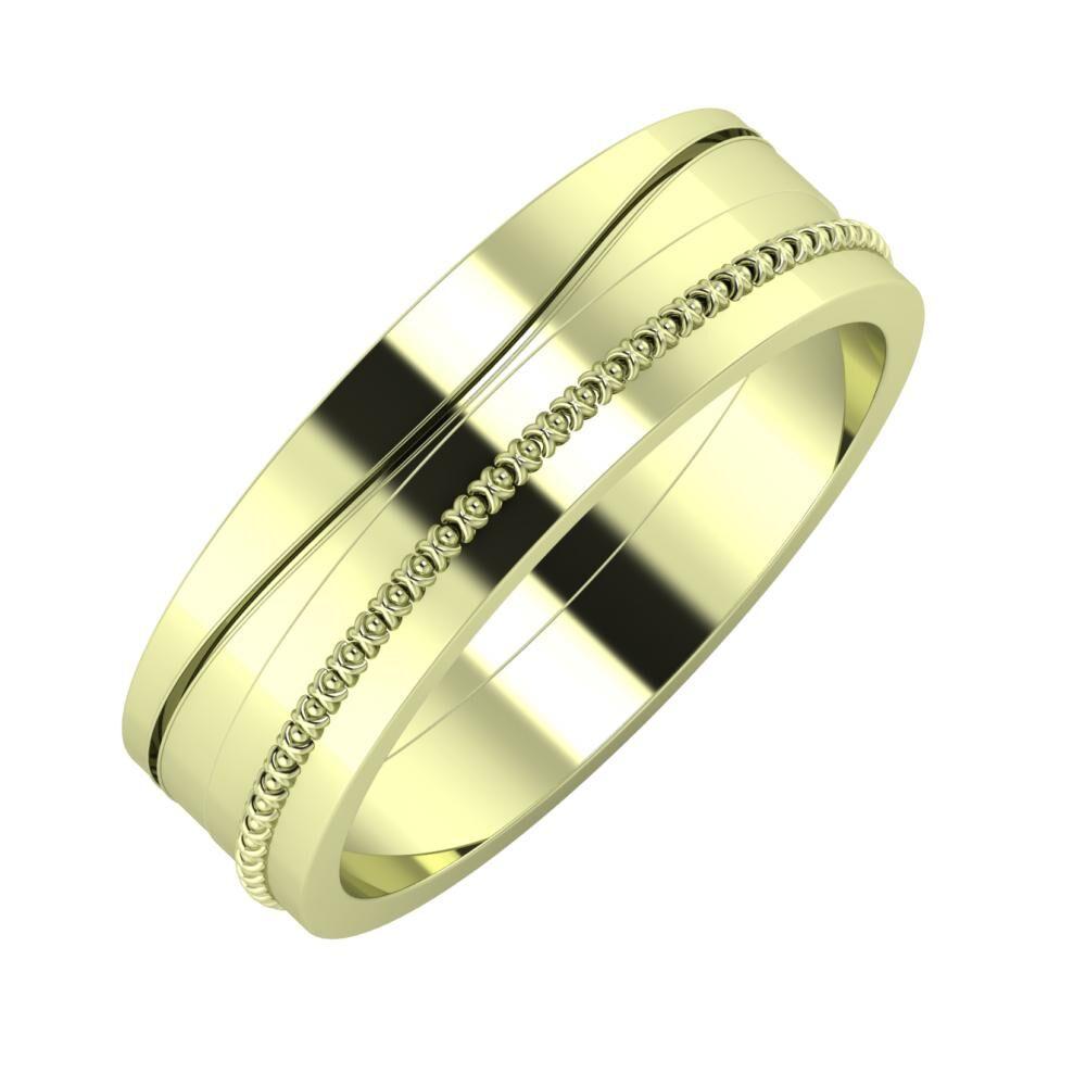Adelinda - Afrodita 6mm 14 karátos zöld arany karikagyűrű
