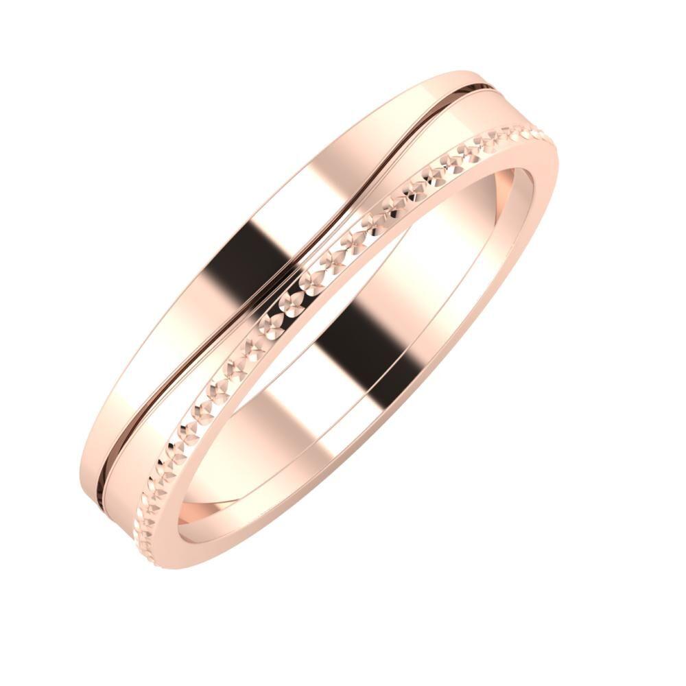 Adelinda - Ági 4mm 14 karátos rosé arany karikagyűrű
