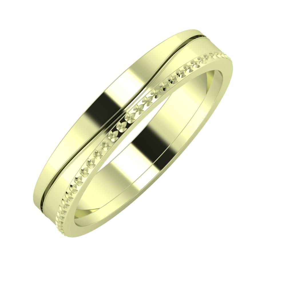 Adelinda - Ági 4mm 14 karátos zöld arany karikagyűrű