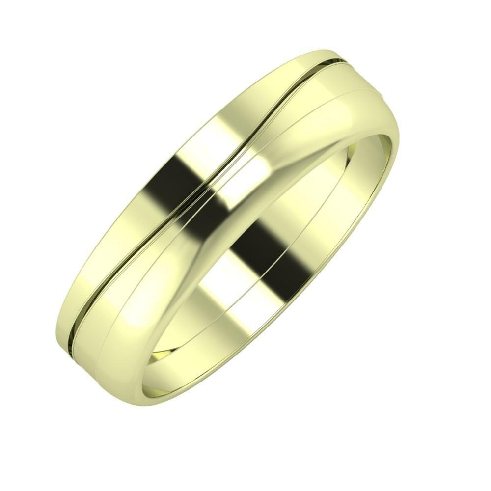 Adelinda - Ágosta 5mm 14 karátos zöld arany karikagyűrű