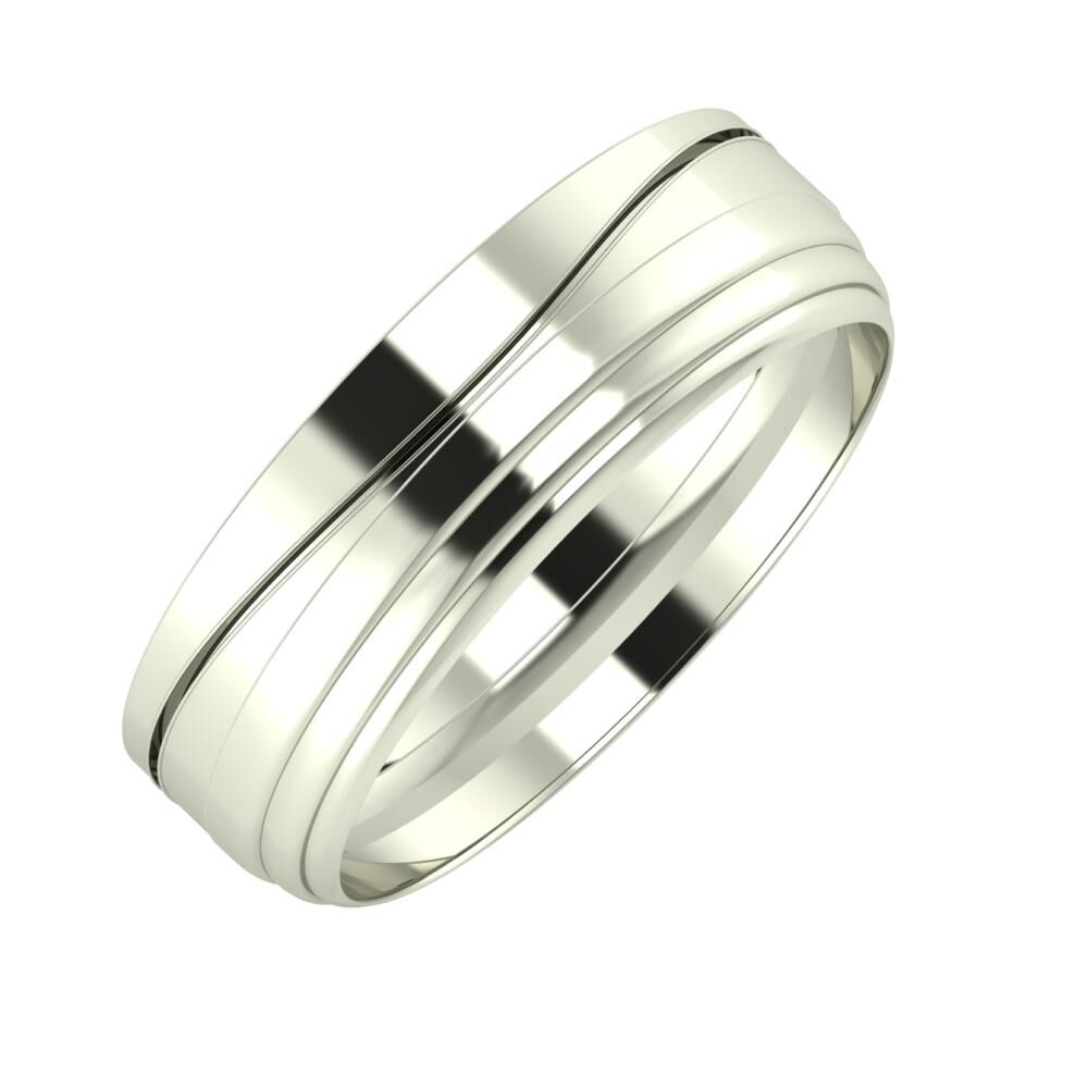 Adelinda - Aina 6mm 14 karátos fehér arany karikagyűrű